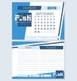 calendar planner for september 2019 fish vector image vector image
