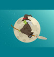 cartoon a witch flying with her broom during vector image
