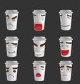 Cartoon Coffee Mug Emotion Face vector image vector image