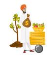 Chained hindu farmer holding a money bag