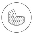 coliseum black icon outline in circle image vector image