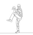 continuous line baseball player pitcher going vector image