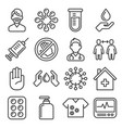 coronavirus icons set on white background line vector image vector image