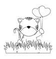 cute tiger in landscape vector image