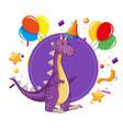 dinosaur at a party vector image vector image