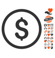 dollar icon with love bonus vector image vector image