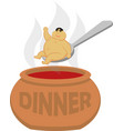 drawing of a fat asian on a spoon over a vector image vector image