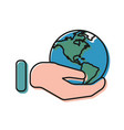 earth in hand on a white background in flat style vector image