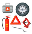 emergency first aid kit in car fire extinguisher vector image