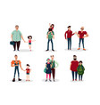 fathers day cartoon with group of vector image vector image