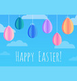 festive easter card with hanging paper origami vector image vector image