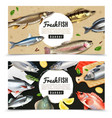 fishes horizontal banners vector image vector image