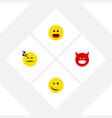 flat icon emoji set of winking pouting wonder vector image vector image