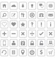 Gray web icon set flat style on round rectangle