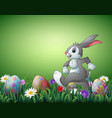 happy easter bunny cartoon with decorated easter e vector image vector image