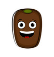happy kiwi fruit cartoon character emote vector image