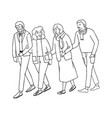 happy senior people walking vector image vector image