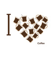 I love coffee Symbol heart of cups of hot coffee vector image vector image