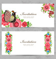 invitation cards with Khokhloma painting for your vector image vector image