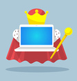 laptop emperor with a scepter and a crown on vector image