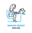making money online concept outline icon linear vector image