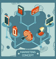marketing color isometric concept icons vector image vector image