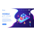 mobile store app isometric 3d landing page vector image vector image