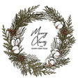 modern hand-drawn fir wreath with pine cones vector image
