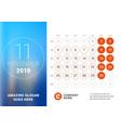 november 2019 desk calendar for 2019 year design vector image vector image