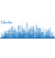 outline columbus skyline with blue buildings vector image vector image