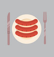 plate with sausages icon oktoberfest festival vector image