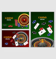 roulette wheel game banner set realistic style vector image
