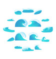 sea waves icons set cartoon style vector image vector image