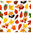 seamless autumn pattern background of fall nature vector image vector image