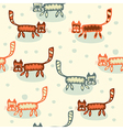 Seamless pattern with cartoon cats vector image