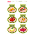 set of labels with vegetables vector image