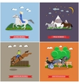 set wild and domestic horses flat design vector image