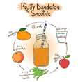 Sketch Fruity Dandelion smoothie recipe vector image vector image