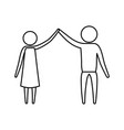 Sketch silhouette of pictogram couple clashing vector image