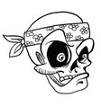 skull wearing bandana black vector image