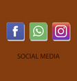 social media icons facebook icon whatsapp icon vector image