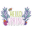 spring branches leaves plants and ladybugs vector image