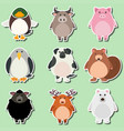 sticker design for cute animals on green vector image