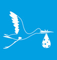 stork carrying icon white vector image vector image