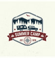 summer camp concept for shirt or logo vector image vector image