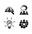 teamwork icon set in flat style vector image