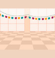 template with decorated celebration room and flags vector image vector image