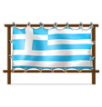The flag of Greece attached to the wooden frame vector image vector image