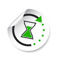 time sticker icon flat with hourglass on white vector image vector image