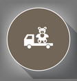truck with bear white icon on brown vector image